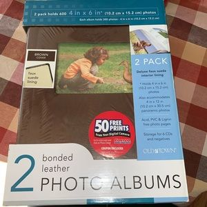 Pack of 2 Bonded Leather Photo Albums